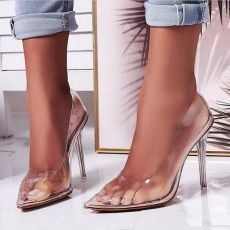 Pointed shallow mouth transparent plastic sexy high heels NHSO135021's discount tags