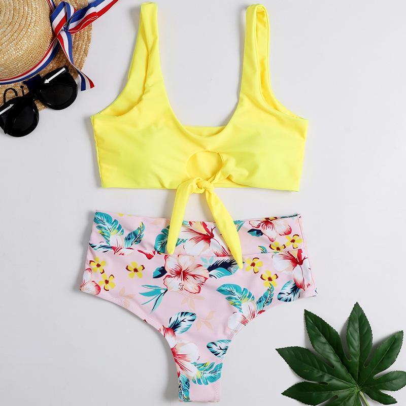Printed Bikini Sexy Swimsuit Split Swimsuit NHHL135036