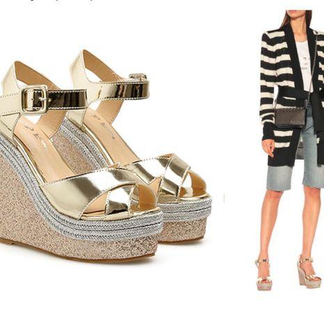 Fashion cross wedge high heel platform fish mouth platform sandals NHSO135047's discount tags