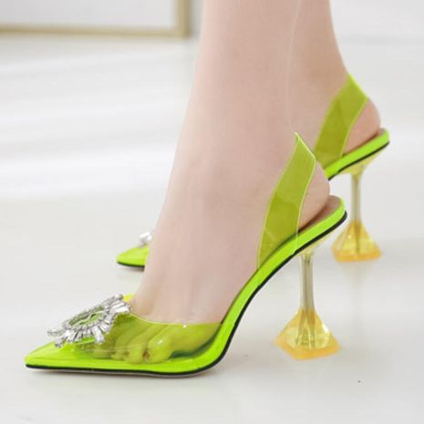 Sexy imitated crystal wine glass with high heel pointed shallow transparent sandals NHSO135055's discount tags