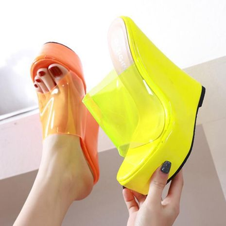 Fluorescent simple high heel wedge sandals and slippers NHSO135059's discount tags