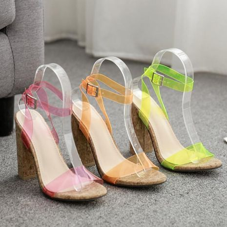 European and American wood grain thick high heel candy color word with sandals NHSO135079's discount tags