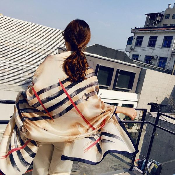 Silk printed silk scarf soft material scarf NHTZ135080
