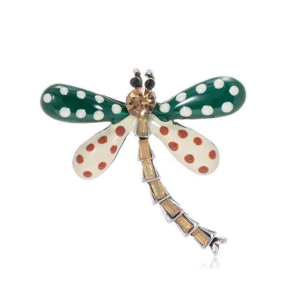 Colored dragonfly insects with rhinestone drop oil alloy brooch NHDR135182