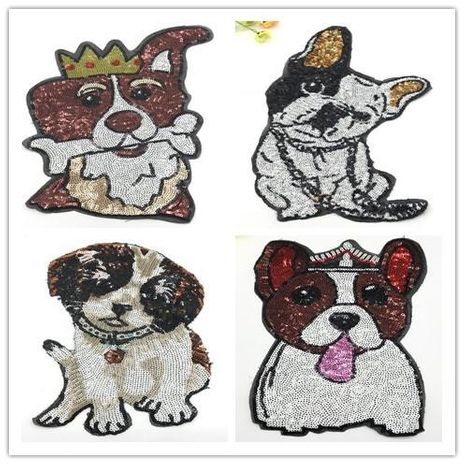 Cartoon cute bite bone dog pattern cloth stickers hole stickers NHLT135183's discount tags