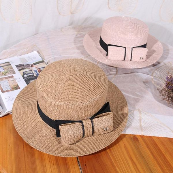 Summer small fresh embroidered letters flat beach hat NHHY135230