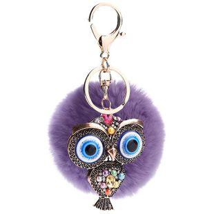 Creative hollow blue eye car retro fashion owl key ring pendant NHMM135255's discount tags
