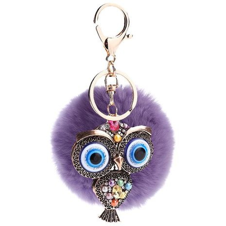 Creative hollow blue eye car retro fashion owl key ring pendant NHMM135255's discount tags
