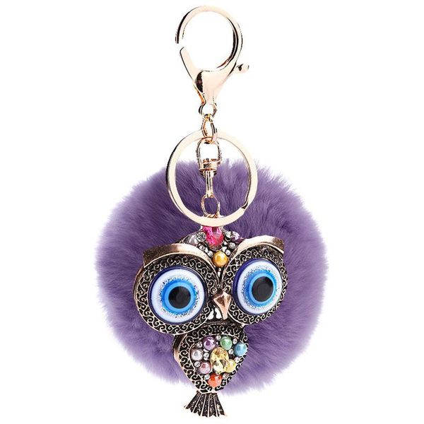 Creative hollow blue eye car retro fashion owl key ring pendant NHMM135255