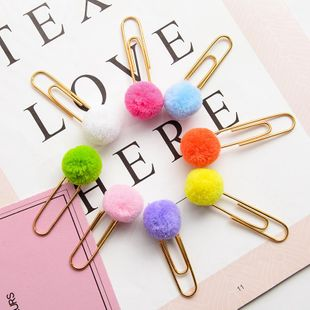 Girl heart colored hair ball paper clip paper clip NHHE135278's discount tags