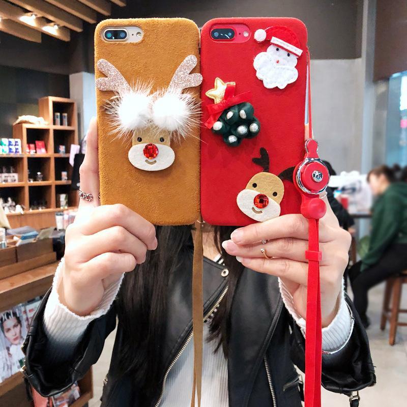 Fashion Christmas Apple Plush Mobile Shell Lanyard NHJP135296 For iphone