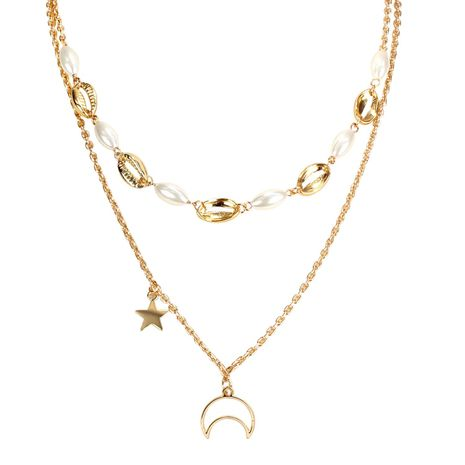 Fashion Moon Star Imitation Beads Shell Necklace NHCT130507's discount tags
