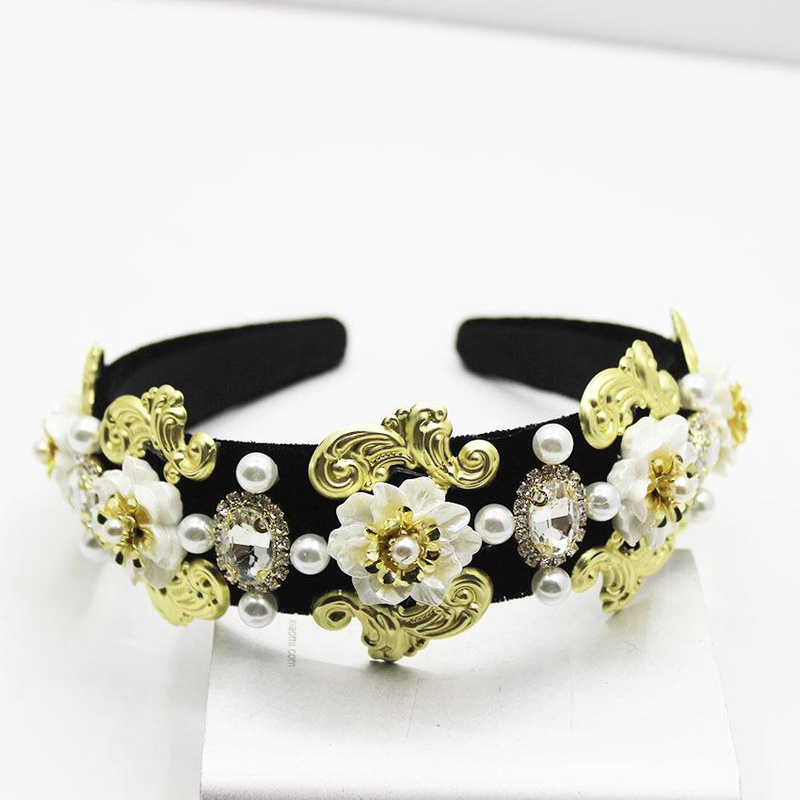 Beads-studded geometric flower gemstone versatile headband NHWJ130530