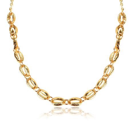 Simple and versatile national wind wave simian alloy shell necklace NHCT130580's discount tags
