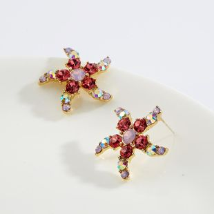 Stylish floral rhinestone-studded flower earrings NHJE130591's discount tags