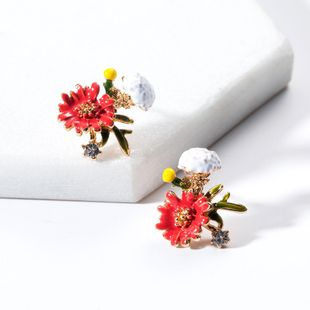 Fashion dripping red and white floral alloy earrings NHJE130601's discount tags