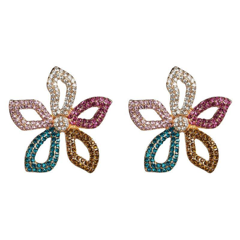 Fashion five-color flower color rhinestone acrylic rhinestone flower earrings NHJE130600