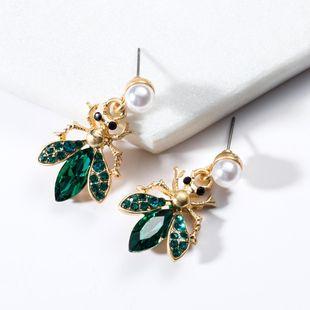 Wild acrylic rhinestone bee earrings NHJE130606's discount tags