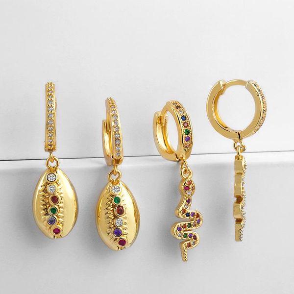Creative Alloy Colored Gemstone Snake Shell Earrings NHAS130607