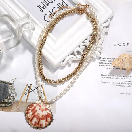 Marine Series Creative Beads Scallop Alloy Necklace NHJQ130605's discount tags