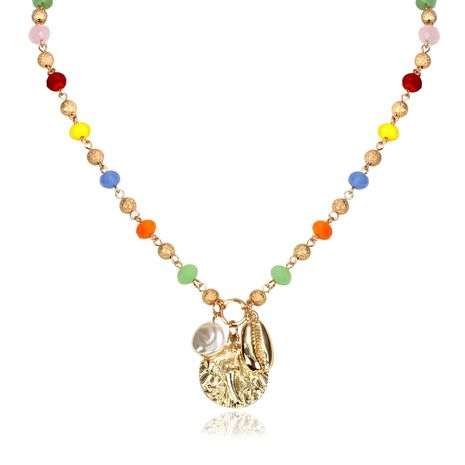 Retro Glass Imitated crystal Light Beads National Wind Shell Necklace NHCT130609's discount tags