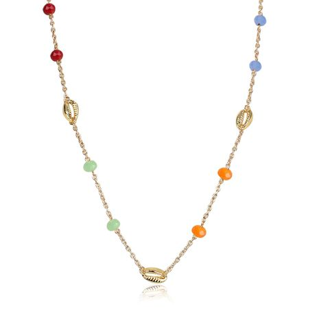Simple shell glass beads link mix alloy necklace NHCT130621's discount tags