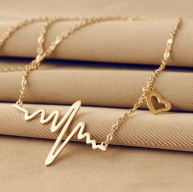 Fashion simple notes ECG heart frequency alloy necklace NHPJ130623's discount tags
