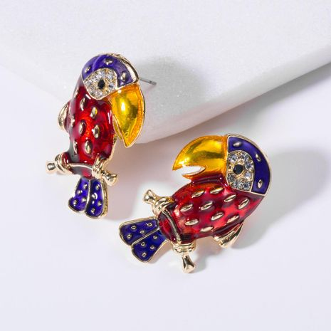 Fashion Drop Oil and Rhinestone Parrot Earrings NHJE130624's discount tags
