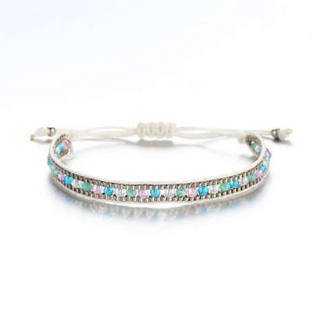Creative retro simple white braided rope imitated crystal alloy bracelet NHPJ130627's discount tags