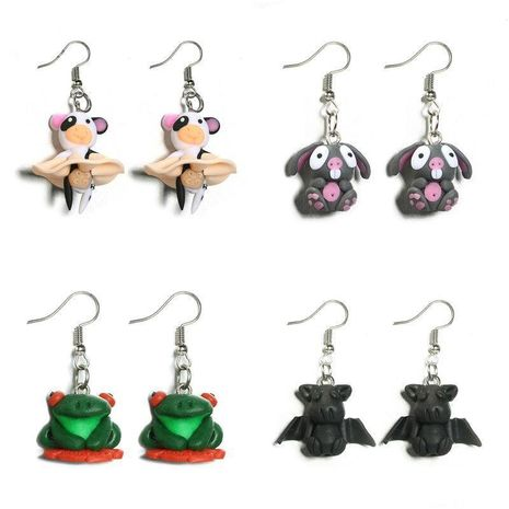 Cartoon cute handmade clay animal small flying pig bat pig earrings NHGY130638's discount tags