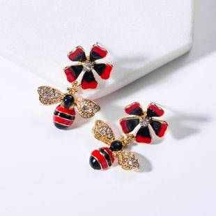 Fashion drip with rhinestone flower bee earrings NHJE130639's discount tags