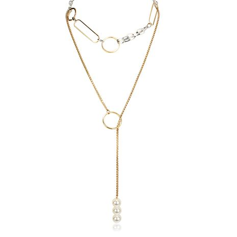 Simple and stylish metal circle short versatile imitation beads necklace NHCT130664's discount tags