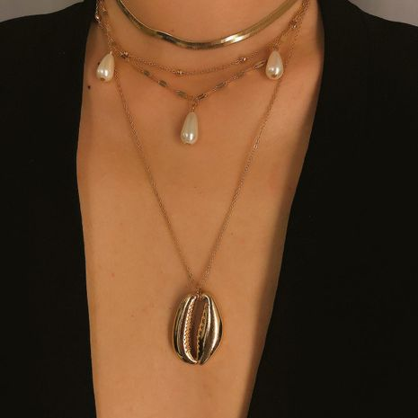Womens geometric  shell plating alloy Necklaces NHXR130665's discount tags