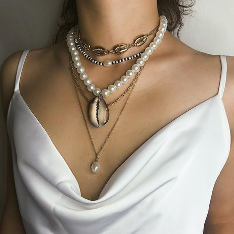 Simple and irregular beads shell multi-layer alloy necklace NHXR130667's discount tags