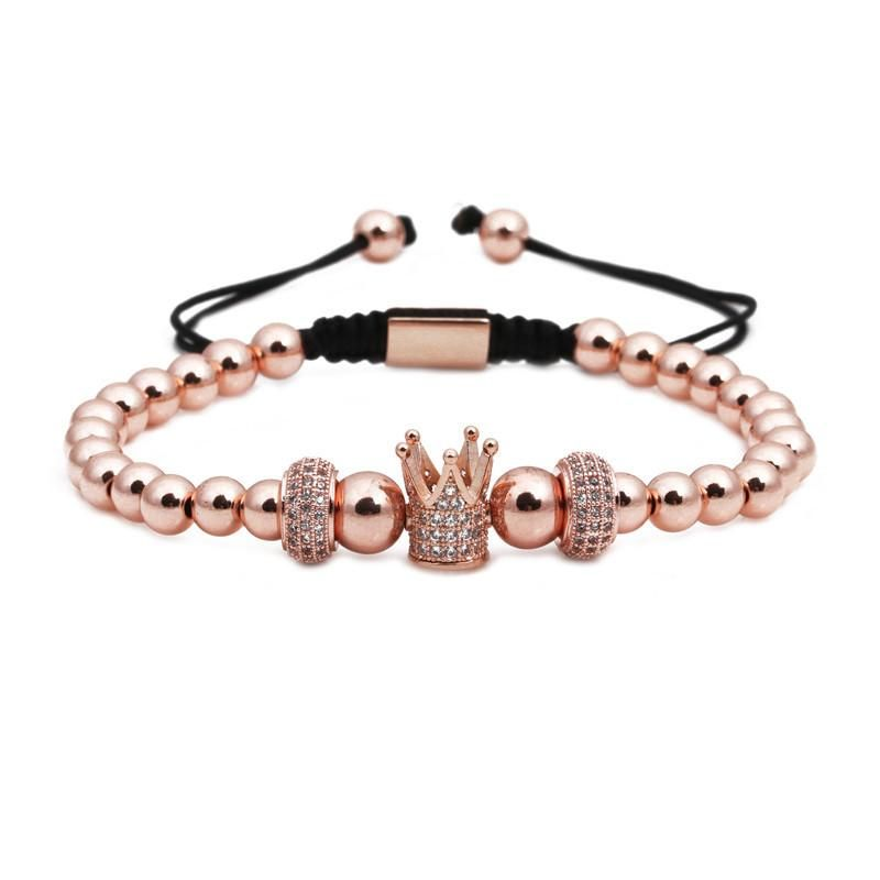 Fashion micro-inlaid zircon copper beads woven crown bracelet NHYL130673