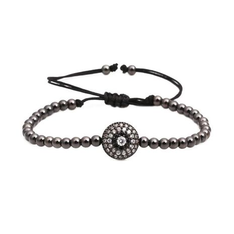 Micro-inlaid zircon round glasses copper bead woven bracelet NHYL130675's discount tags