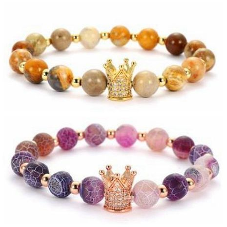 Fashionable weathered stone micro-inlaid zircon crown bracelet NHYL130677's discount tags