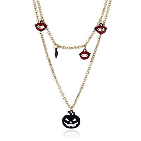 Fashion long lips pumpkin ghost head alloy necklace NHNZ130678's discount tags