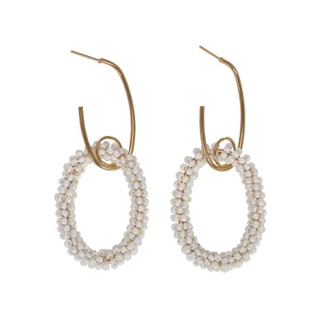 Explosion style cool rice beads circle alloy earrings NHJQ130686's discount tags