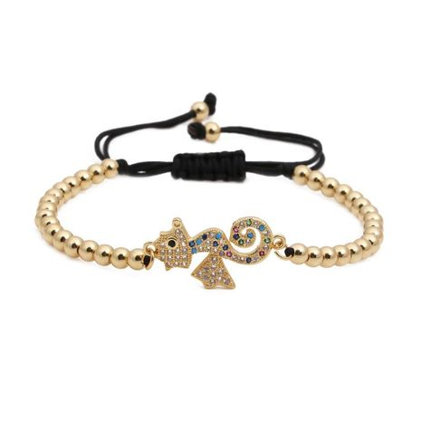 Fashion micro-inlaid zircon hippocampus copper bead woven bracelet NHYL130687's discount tags
