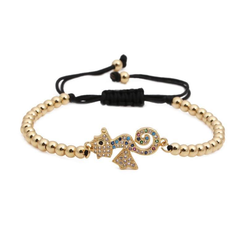 Fashion microinlaid zircon hippocampus copper bead woven bracelet NHYL130687