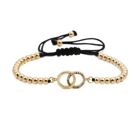 Micro-inlaid zircon round double-ring copper bead woven bracelet NHYL130694's discount tags