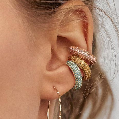 Fashion C-color colored gemstone alloy earrings NHLU130701's discount tags
