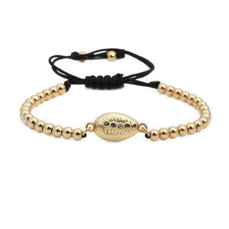 Fashion copper beads woven micro-encrusted color zircon seven chakra shell bracelet NHYL130703's discount tags