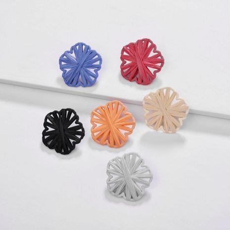 Natural Handmade Raffia Woven Openwork Flower Color Alloy Earrings NHLU130711's discount tags