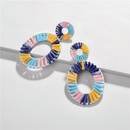 Fashionable hollow section dyed colored woven alloy earrings NHLU130682