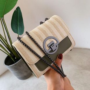 Fashion wild straw slanting small square bag NHTC135453's discount tags