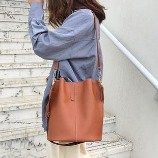 Bucket bag wide shoulder strap women's large capacity pu shoulder bag NHXC135529's discount tags