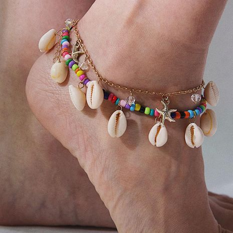 Ethnic style colorful rice beads shell multi-layer anklet bracelet NHXR135889's discount tags