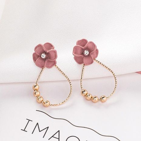 Fashion Joker Oval Circle Pink Flower Earrings NHMS135924's discount tags